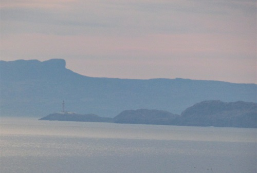 Ardnamurchan lighthouse and                                     Scoor of Eigg at dawn