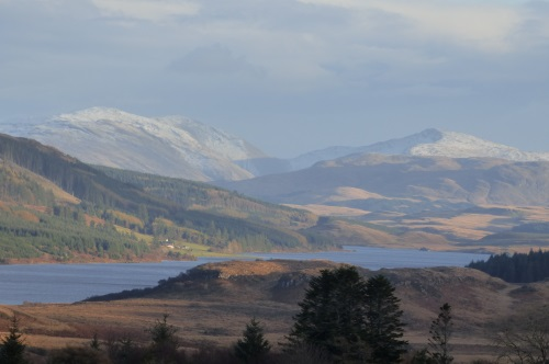 Loch Frisa with snow on the                                     hills